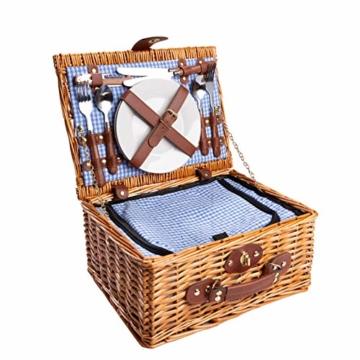 eGenuss LYP1598BLU Handgefertigtes Picknickkorb für 2 Personen – Kühlfach, Multifunktionsmesser, Edelstahlbesteck, Teller und Weingläser inklusive - Blaues Gingham-Muster 32x25x17 cm - 1