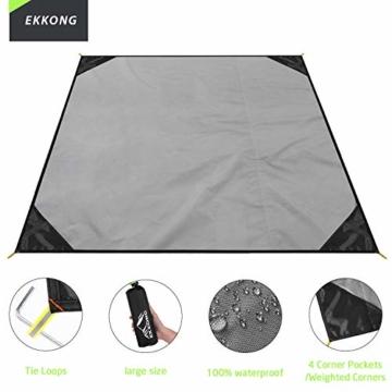 EKKONG Picknickdecke Wasserdicht, Ultraleicht, Kleines Packmaß - Ideal für Ground Sheet, Pocket Blanket, Stranddecke, Taschendecke, Campingdecke, Sitzunterlage (200cm*200cm, Schwarz&Grau) - 3