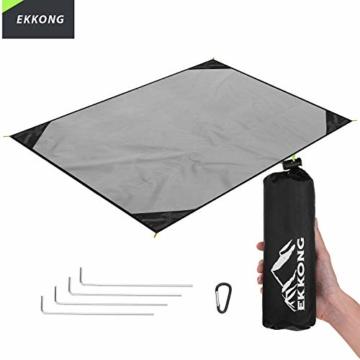 EKKONG Picknickdecke Wasserdicht, Ultraleicht, Kleines Packmaß - Ideal für Ground Sheet, Pocket Blanket, Stranddecke, Taschendecke, Campingdecke, Sitzunterlage (200cm*200cm, Schwarz&Grau) - 1