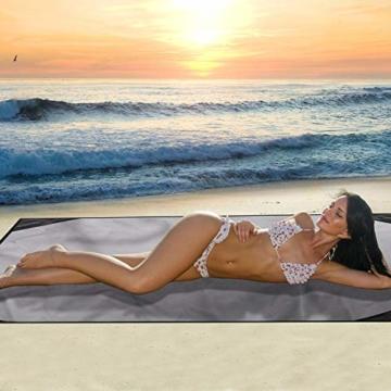 EKKONG Picknickdecke Wasserdicht, Ultraleicht, Kleines Packmaß - Ideal für Ground Sheet, Pocket Blanket, Stranddecke, Taschendecke, Campingdecke, Sitzunterlage (200cm*200cm, Schwarz&Grau) - 5