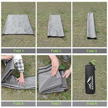 EKKONG Picknickdecke Wasserdicht, Ultraleicht, Kleines Packmaß - Ideal für Ground Sheet, Pocket Blanket, Stranddecke, Taschendecke, Campingdecke, Sitzunterlage (200cm*200cm, Schwarz&Grau) - 8
