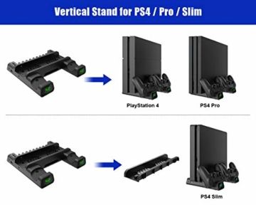 ElecGear Playstation Vertikaler Ständer Ladestation, Lüfter Kühler Standfuß, 10x Blu-ray Spiele Hüllen Halterung Stand mit Dual Charger Ladegerät für DualShock 4 Controller und PS4, PS4 Slim, PS4 Pro - 2