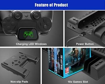 ElecGear Playstation Vertikaler Ständer Ladestation, Lüfter Kühler Standfuß, 10x Blu-ray Spiele Hüllen Halterung Stand mit Dual Charger Ladegerät für DualShock 4 Controller und PS4, PS4 Slim, PS4 Pro - 7