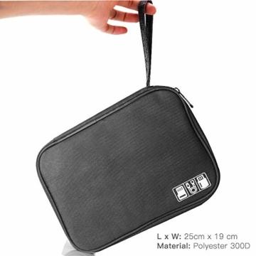 Elektronische Tasche Organizer universal travel Kabel Elektronik Zubehör Tasche Reise Organizer Case für Handy, Kabel, Festplatte, USB Sticks, SD Karten (Schwarz) - 4