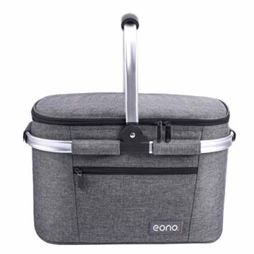 Eono by Amazon - 2-Personen-Picknickkorb 22L, isolierter Korb, Kühltasche für den Außenbereich, Dunkelgrau, M - 4