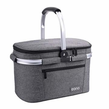 Eono by Amazon - 2-Personen-Picknickkorb 22L, isolierter Korb, Kühltasche für den Außenbereich, Dunkelgrau, M - 1