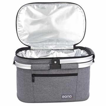 Eono by Amazon - 2-Personen-Picknickkorb 22L, isolierter Korb, Kühltasche für den Außenbereich, Dunkelgrau, M - 9