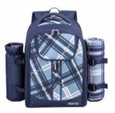 Eono by Amazon - 4 Personen Picknickrucksack Kühltasche mit Geschirrset & Decke, Blau, L - 1