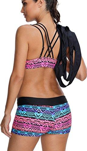 EUDOLAH Damen Sport Yoga Fitness 3-Teilig Tankini mit Shorts Strand Bikini Set mit Tops (L (EU 38-40), A-Schwarz) - 5