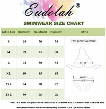 EUDOLAH Damen Sport Yoga Fitness 3-Teilig Tankini mit Shorts Strand Bikini Set mit Tops (L (EU 38-40), A-Schwarz) - 7