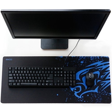 EXCO Extra Large 700 * 300 * 2 mm XL Gaming Matte Glatte Oberfläche für rutschfeste Gummimaus mit Designs für Spieler und Büroarbeit, (XL Blue Leopard) - 4