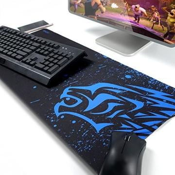 EXCO Extra Large 700 * 300 * 2 mm XL Gaming Matte Glatte Oberfläche für rutschfeste Gummimaus mit Designs für Spieler und Büroarbeit, (XL Blue Leopard) - 1