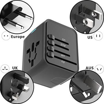 EXTSUD Universal Reiseadapter Reisestecker mit 3 USB Ports und Type C International Ladegerät Sicherheit AC Steckdose mit Ersatz Sicherung für Weltweit Reisen in US,UK,EU,AU,Asien Über 170 Ländern - 2