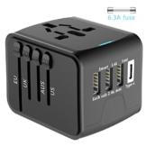 EXTSUD Universal Reiseadapter Reisestecker mit 3 USB Ports und Type C International Ladegerät Sicherheit AC Steckdose mit Ersatz Sicherung für Weltweit Reisen in US,UK,EU,AU,Asien Über 170 Ländern - 1