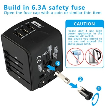 EXTSUD Universal Reiseadapter Reisestecker mit 3 USB Ports und Type C International Ladegerät Sicherheit AC Steckdose mit Ersatz Sicherung für Weltweit Reisen in US,UK,EU,AU,Asien Über 170 Ländern - 3
