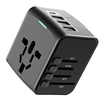 EXTSUD Universal Reiseadapter Reisestecker mit 3 USB Ports und Type C International Ladegerät Sicherheit AC Steckdose mit Ersatz Sicherung für Weltweit Reisen in US,UK,EU,AU,Asien Über 170 Ländern - 4