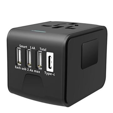 EXTSUD Universal Reiseadapter Reisestecker mit 3 USB Ports und Type C International Ladegerät Sicherheit AC Steckdose mit Ersatz Sicherung für Weltweit Reisen in US,UK,EU,AU,Asien Über 170 Ländern - 5