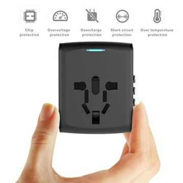 EXTSUD Universal Reiseadapter Reisestecker mit 3 USB Ports und Type C International Ladegerät Sicherheit AC Steckdose mit Ersatz Sicherung für Weltweit Reisen in US,UK,EU,AU,Asien Über 170 Ländern - 7