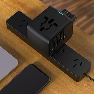 EXTSUD Universal Reiseadapter Reisestecker mit 3 USB Ports und Type C International Ladegerät Sicherheit AC Steckdose mit Ersatz Sicherung für Weltweit Reisen in US,UK,EU,AU,Asien Über 170 Ländern - 8