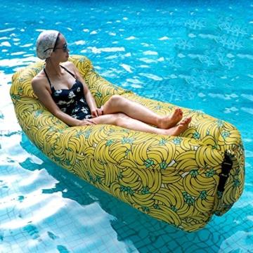 Fansport Aufblasbares Sofa Wasserdichtes Sofa Strand Sofa Tragbares Sofa Garten Aufblasbar Reise Couch Aufblasbare Liege Air Sofa Aufblasbarer Sitzsack Liege füR Camping, Park, Hinterhof (Gelb) - 2