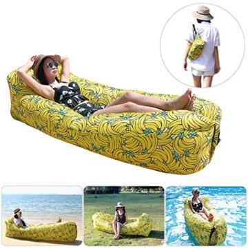 Fansport Aufblasbares Sofa Wasserdichtes Sofa Strand Sofa Tragbares Sofa Garten Aufblasbar Reise Couch Aufblasbare Liege Air Sofa Aufblasbarer Sitzsack Liege füR Camping, Park, Hinterhof (Gelb) - 1