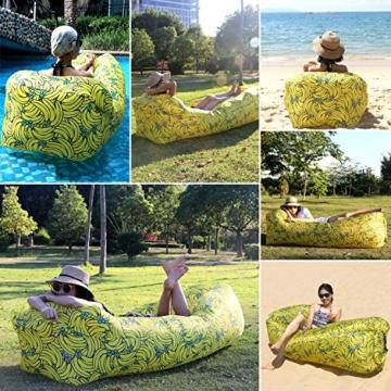 Fansport Aufblasbares Sofa Wasserdichtes Sofa Strand Sofa Tragbares Sofa Garten Aufblasbar Reise Couch Aufblasbare Liege Air Sofa Aufblasbarer Sitzsack Liege füR Camping, Park, Hinterhof (Gelb) - 5