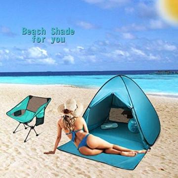 FBSPORT Strandzelt, Extra Leicht Automatik Strandmuschel mit Boden Sonnenschutz UV-Schutz, Pop up Familie Tragbares Strand-Zelt, Outdoor Beach Tent Tragbar Wurfzelt - 2