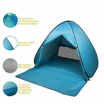 FBSPORT Strandzelt, Extra Leicht Automatik Strandmuschel mit Boden Sonnenschutz UV-Schutz, Pop up Familie Tragbares Strand-Zelt, Outdoor Beach Tent Tragbar Wurfzelt - 3