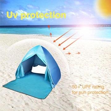 FBSPORT Strandzelt, Extra Leicht Automatik Strandmuschel mit Boden Sonnenschutz UV-Schutz, Pop up Familie Tragbares Strand-Zelt, Outdoor Beach Tent Tragbar Wurfzelt - 4