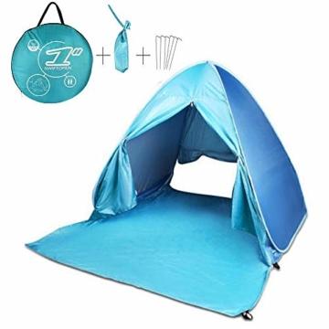 FBSPORT Strandzelt, Extra Leicht Automatik Strandmuschel mit Boden Sonnenschutz UV-Schutz, Pop up Familie Tragbares Strand-Zelt, Outdoor Beach Tent Tragbar Wurfzelt - 1