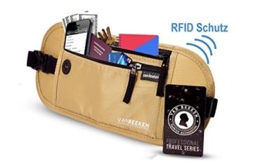 Flache Bauchtasche Hüfttasche mit RFID-Blockierung und 1 Hüftgurt für Damen und Herren - enganliegend und wasserdicht - Geldgürtel zum Sport, Reisen und Joggen | VAN BEEKEN Money Belt Beige - 2