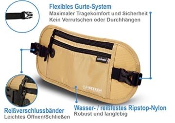 Flache Bauchtasche Hüfttasche mit RFID-Blockierung und 1 Hüftgurt für Damen und Herren - enganliegend und wasserdicht - Geldgürtel zum Sport, Reisen und Joggen | VAN BEEKEN Money Belt Beige - 4