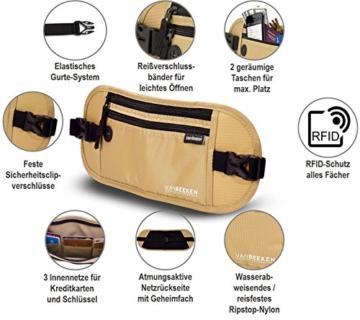 Flache Bauchtasche Hüfttasche mit RFID-Blockierung und 1 Hüftgurt für Damen und Herren - enganliegend und wasserdicht - Geldgürtel zum Sport, Reisen und Joggen | VAN BEEKEN Money Belt Beige - 5