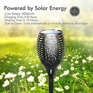 FLOWood 2 Stück Solar Garten Flammen Fackeln LED Bis Dawn Automatische Ein/Aus(Licht Sensor), Solarlampe mit Realistischen Flammen und Wasserdicht,Spotlight Gartenleuchte Licht Solar Außen warmlicht - 5
