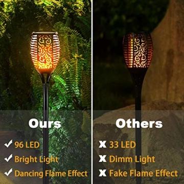 FLOWood 2 Stück Solar Garten Flammen Fackeln LED Bis Dawn Automatische Ein/Aus(Licht Sensor), Solarlampe mit Realistischen Flammen und Wasserdicht,Spotlight Gartenleuchte Licht Solar Außen warmlicht - 7