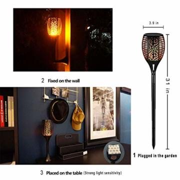 FLOWood 2 Stück Solar Garten Flammen Fackeln LED Bis Dawn Automatische Ein/Aus(Licht Sensor), Solarlampe mit Realistischen Flammen und Wasserdicht,Spotlight Gartenleuchte Licht Solar Außen warmlicht - 8