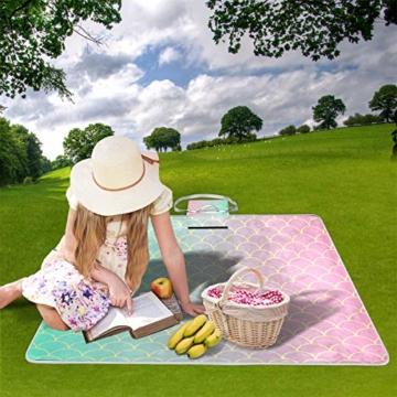 GEEVOSUN Picknickdecke Wasserdicht,Gold Mint Pink Gradient Meerjungfrau Schwanz,für den Außenbereich,faltbar,Picknick-Matte für Strand,Camping,Wandern - 2