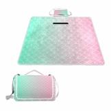 GEEVOSUN Picknickdecke Wasserdicht,Gold Mint Pink Gradient Meerjungfrau Schwanz,für den Außenbereich,faltbar,Picknick-Matte für Strand,Camping,Wandern - 1