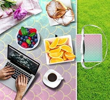 GEEVOSUN Picknickdecke Wasserdicht,Gold Mint Pink Gradient Meerjungfrau Schwanz,für den Außenbereich,faltbar,Picknick-Matte für Strand,Camping,Wandern - 7