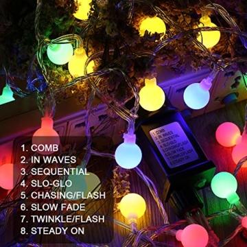 Globe Lichterkette Bunt, BrizLabs 10M 100er LED Kugel Lichterkette Innen Außen 8 Modi Strombetrieben RGB Lichterkette für Weihnachten Party Garten Hochzeit Balkon Deko, Mehrfarbig - 4
