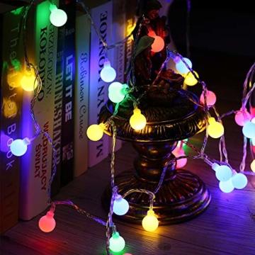 Globe Lichterkette Bunt, BrizLabs 10M 100er LED Kugel Lichterkette Innen Außen 8 Modi Strombetrieben RGB Lichterkette für Weihnachten Party Garten Hochzeit Balkon Deko, Mehrfarbig - 5