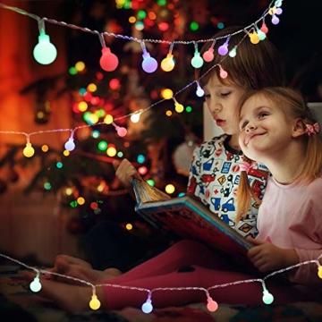 Globe Lichterkette Bunt, BrizLabs 10M 100er LED Kugel Lichterkette Innen Außen 8 Modi Strombetrieben RGB Lichterkette für Weihnachten Party Garten Hochzeit Balkon Deko, Mehrfarbig - 6
