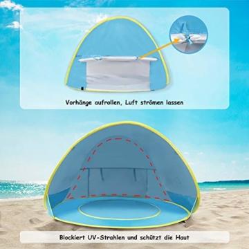 Glymnis Baby Strandmuschel Strandzelt Pop-up Baby Strand Zelt mit trennbarer Pool UV-Schutz UPF 50+ Sun Shade Shelter für Kleinkinder 0-3 Jahre - 2