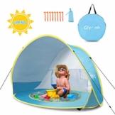 Glymnis Baby Strandmuschel Strandzelt Pop-up Baby Strand Zelt mit trennbarer Pool UV-Schutz UPF 50+ Sun Shade Shelter für Kleinkinder 0-3 Jahre - 1