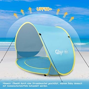 Glymnis Baby Strandmuschel Strandzelt Pop-up Baby Strand Zelt mit trennbarer Pool UV-Schutz UPF 50+ Sun Shade Shelter für Kleinkinder 0-3 Jahre - 4