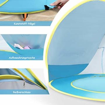 Glymnis Baby Strandmuschel Strandzelt Pop-up Baby Strand Zelt mit trennbarer Pool UV-Schutz UPF 50+ Sun Shade Shelter für Kleinkinder 0-3 Jahre - 6
