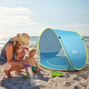 Glymnis Baby Strandmuschel Strandzelt Pop-up Baby Strand Zelt mit trennbarer Pool UV-Schutz UPF 50+ Sun Shade Shelter für Kleinkinder 0-3 Jahre - 7