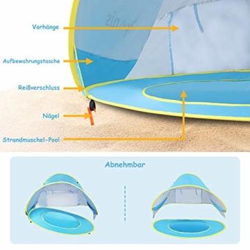 Glymnis Baby Strandmuschel Strandzelt Pop-up Baby Strand Zelt mit trennbarer Pool UV-Schutz UPF 50+ Sun Shade Shelter für Kleinkinder 0-3 Jahre - 9
