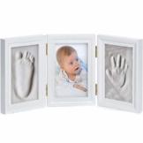 Goods & Gadgets Baby Bilderrahmen Gipsabdruck-Set - Fotorahmen Gips für Hand-Abdruck Fuß-Abdruck & Fotos; 3-TLG weiß - 1