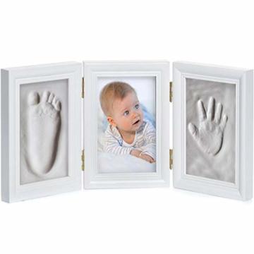 Goods & Gadgets Baby Bilderrahmen Gipsabdruck-Set - Fotorahmen Gips für Hand-Abdruck Fuß-Abdruck & Fotos; 3-TLG weiß - 2